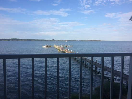 Piney Point, MD: view from balcony of room 202 facing east
