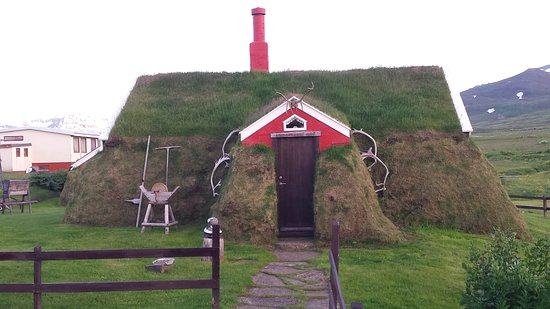 North Iceland, Iceland: Lindarbakki house, an old 30 sq. m. house made of turf, stones wood or cement