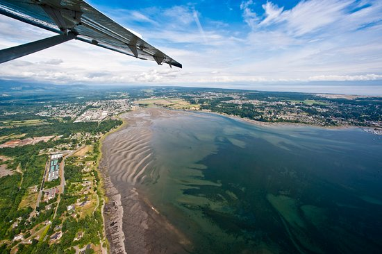 Courtenay, Kanada: Ariel view of estuary