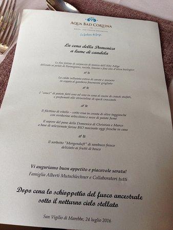 Hotel Aqua Bad Cortina: Menu cena 24-07-2016