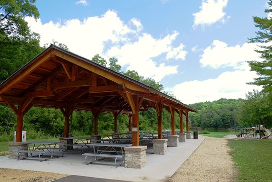 Mount Horeb, WI: New shelter and playground near the beach.