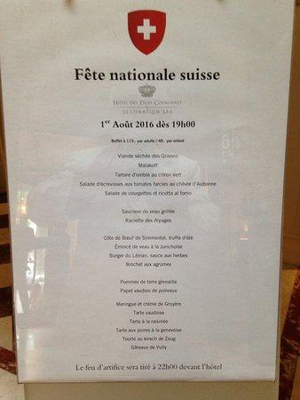 Hotel des Trois Couronnes: le certe de menu du 1 er août