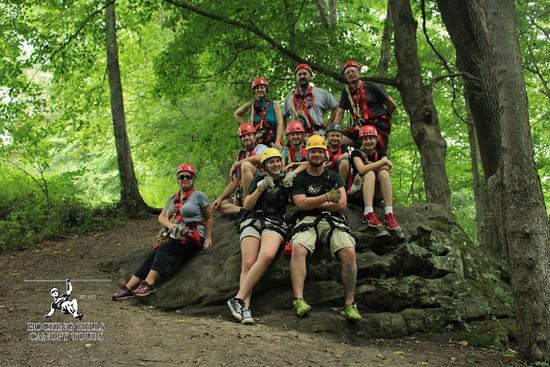 Rockbridge, OH : Our group with red helmets and guides in yellow.