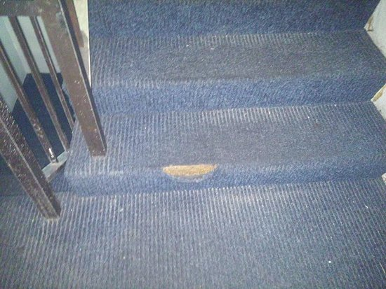 Hotel Blue: One of the many visible holes in the carpet, other holes had duct tape