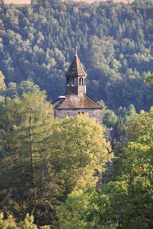 Bad Berneck im Fichtelgebirge, Tyskland: Blick auf den Schloßturm