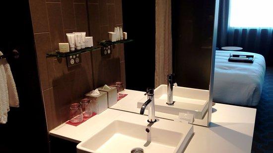Complimentary bathroom consumables.