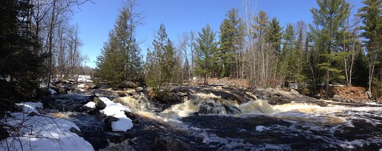 Mercer, WI: Waterfall at Lake of the Falls