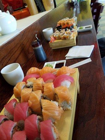 Sushi Red: Foreground, Lady in Red, Pink Lady, Tuna and Salmon Nigiri.