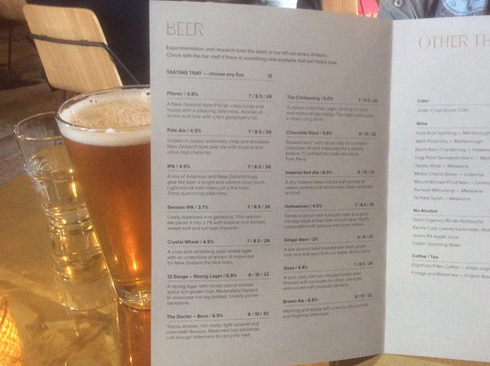 Matakana, Nowa Zelandia: Beer Menu