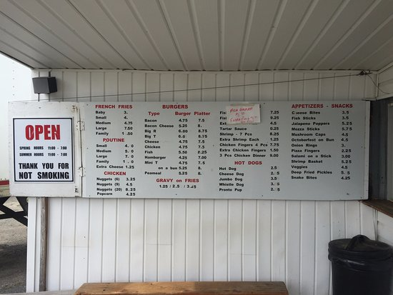 Menu - M & M Chip Stand, Kirkland Lake ON