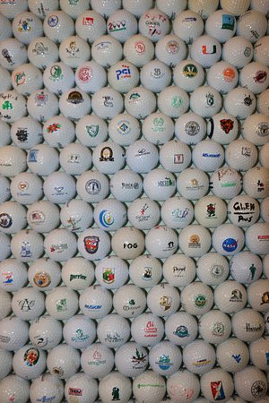 The golf ball wall at the Killeen House bar