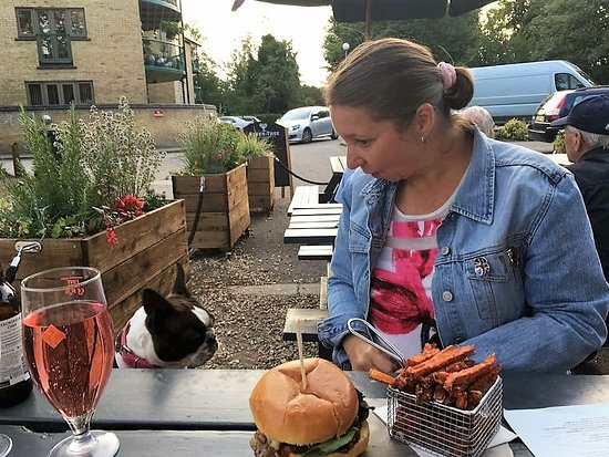 Eaton Socon, UK: my dog & i enjoying our meal