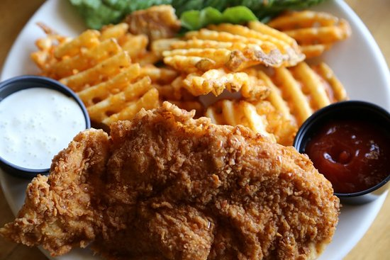 Geneseo, IL: Our Pretzel crusted tender chicken and waffle fries are fan favorites!