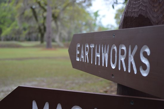 Sumatra, FL: A sign directs visitors to the earthwork remains of the forts.