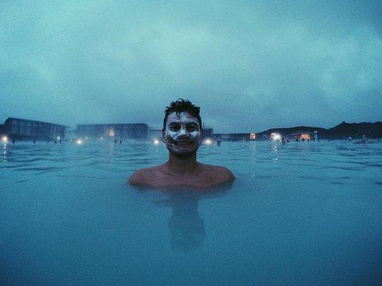 Grindavik, Iceland: Boyfriend with a Silica Mud Mask - 9th of August 22.30