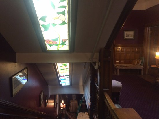 Victorian Home Walk: Stained glass ceiling in Hotel on our tour