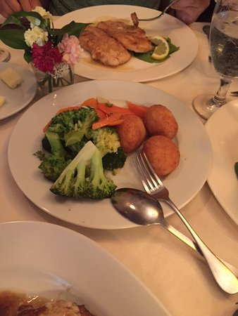 Lynbrook, NY: surprising light rice balls, sweet carrots and steamed broccoli