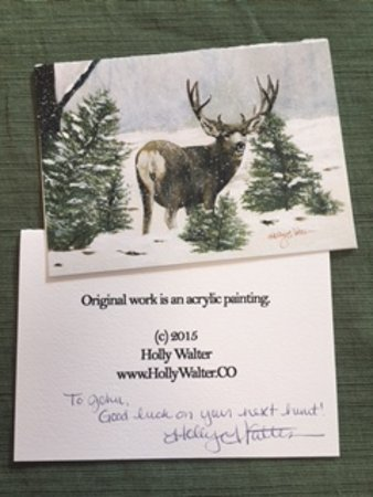 Sangre de Cristo Arts & Conference Center: Artist on staff signed card purchased in gift shop.