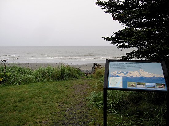 Anchor Point, AK: Sign pointing out mountains across Cook Inlet - too foggy for this