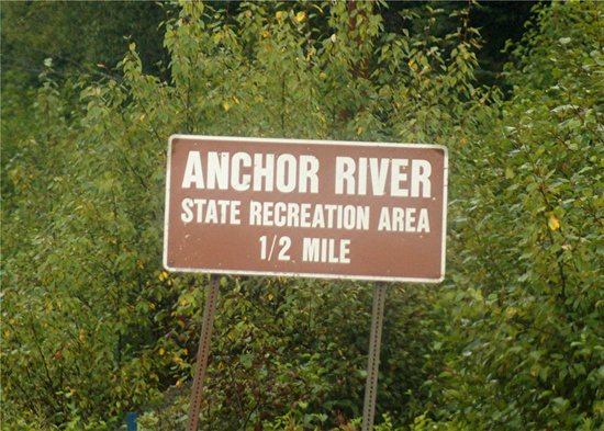 Anchor Point, AK: the highway sign