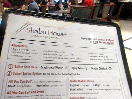 Menu, Shabu House, Milpitas, CA