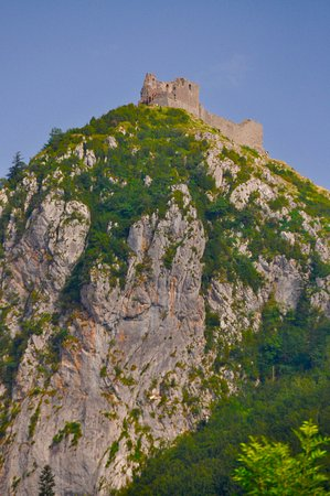 Montsegur perches on the rocky summit
