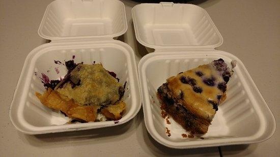 Milbridge, ME: Blueberry pie and cheesecake - the pie was still a little warm so it was a little hard to slice!