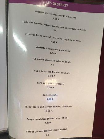 Hermanville-sur-mer, France : Menu et prix du Malaga pour vous donner une idée ! Bon appétit !