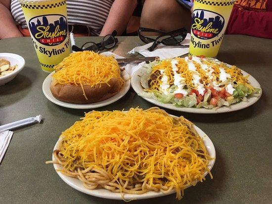 Skyline Chili : Three Way, Cony Island dogs, and chili nachos