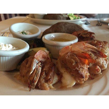 Seekonk, MA: Baked Stuffed Shrimp with Baked Potato