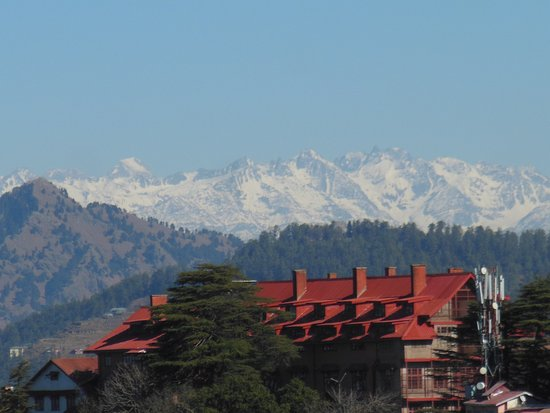 The Mall: Snow covered peaks of mountains. View from The Ridge