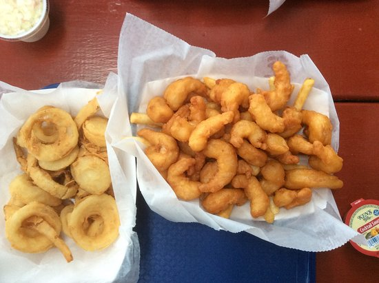 South Freeport, ME: Beer battered prawns, onion centres