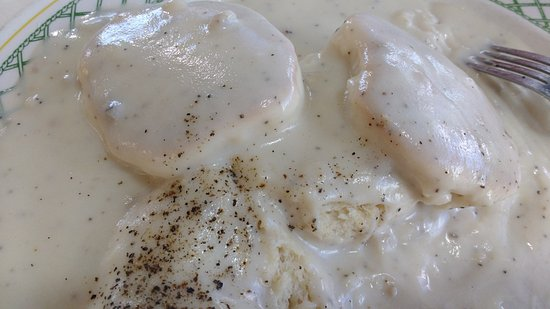 Fulton, MO: The biscuits and gravy. Picture on menu shows lovely sausage gravy on biscuits...you get meatles