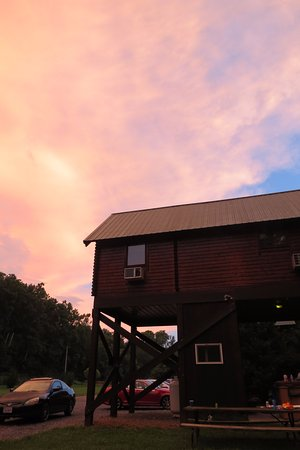 Gander Island Cabins: Amazing post-storm sunset with neighboring cabin in view.