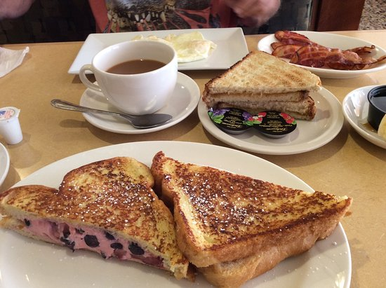 Southampton, NJ: blueberry strawberry cream cheese filled french toast