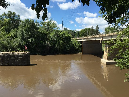 Anamosa, IA: A view of the Wapsipinicon River from the outdoor eating area