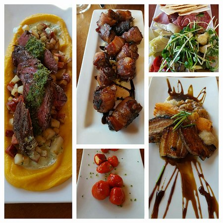Cafe Vino: Hanger steak, bacon wrapped dates, stuffed peppadews, charcuterie, and apple glazed pork belly