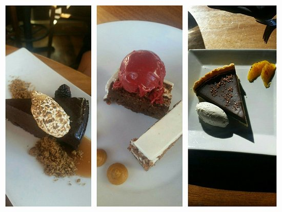 Cafe Vino: Dark chocolate flourless torte, carrot zucchini layer cake, and a Mexican chocolate tart