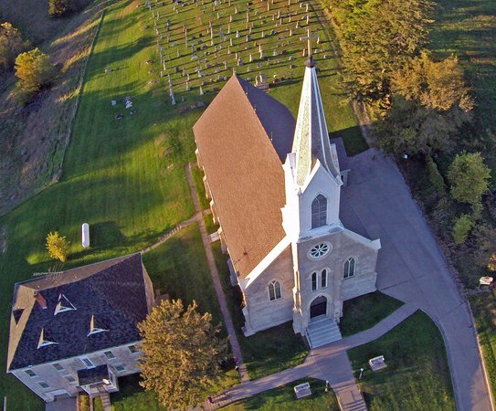 Saint Donatus, IA: This is an aerial view from my drone.  It barely does the church justice.