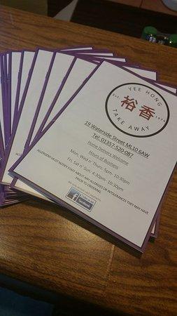 Strathaven, UK: Menu booklet