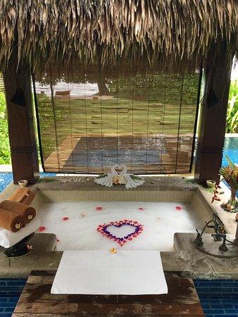 Outdoor sunken bath - direct access through patio doors from ...