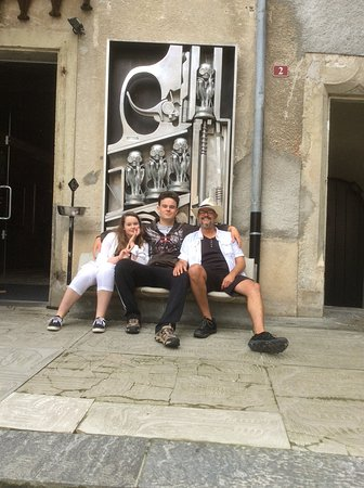 HR Giger Museum : Dad and kids outside the Giger museum.