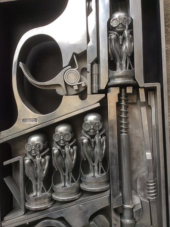 HR Giger Museum : A typical Giger 'Biomechanoid' sculpture outside the museum entrance.
