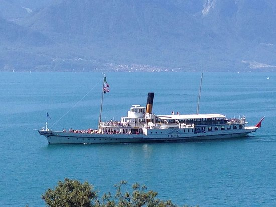 La Suisse Steam Paddle Boat Steaming On The Lake