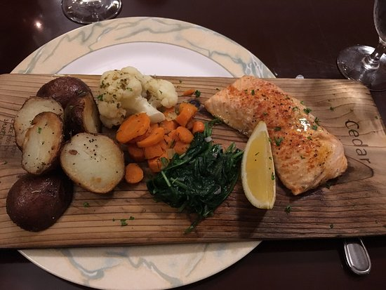 New Glasgow, Canada: Cedar planked maple salmon- YUM I'd definitely order this again!