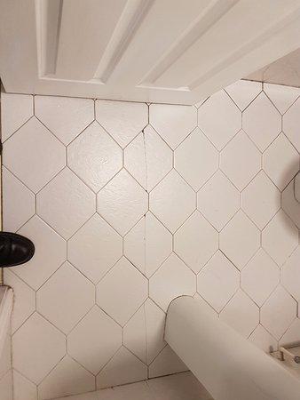 Charleville Lodge: Cracked bathroom tiles.