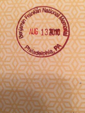 Ben Franklin National Memorial: NPS stamp for Benjamin Franklin National Memorial