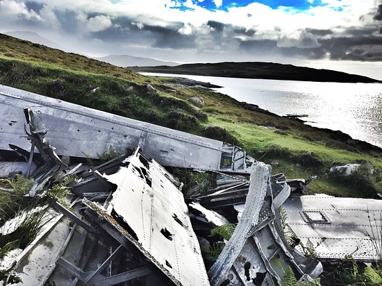 Wreckage of a WW2 flying boat which crashed on Vatersay in 1944.