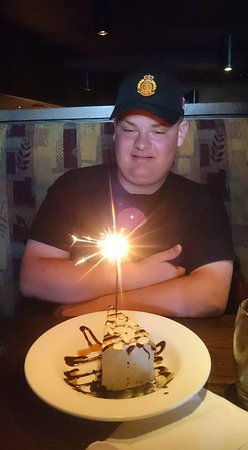 The Keg Steakhouse + Bar Kingston : Matthew and his surprise celebratory piece of cake1 how Lovely! Thanks Keg!!