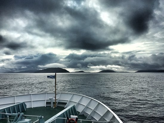 Approaching the Outer Hebrides (Barra) on board the CalMac ferry from Oban.